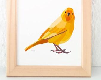 Yellow canary print, Canary illustration, Geometric print, Animal lover gift, Song bird art, Yellow print, Bird wall art, Bird lovers art
