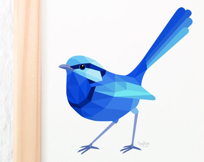 Blue wren illustration, Fairy wren illustration, Male wren, Geometric wren, Australian wildlife, Australian bird art, Blue bird wall art