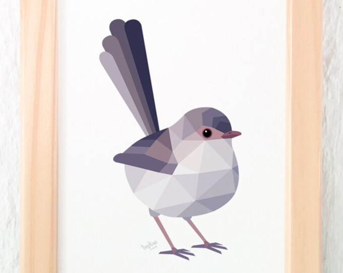Wren print, Fairy wren wall art, Cute bird gift, Contemporary art, Australian birds, Minimal wall decor, Australian wren, Female wren decor