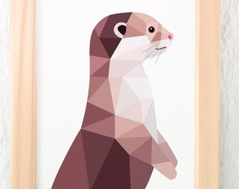 Otter illustration, Cute animal art, Childrens wall art, Animal wall art, Nursery print, Children's room decor, Otter print, Wildlife art