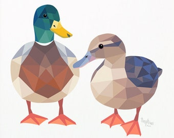 Mallard duck print, Duck pair illustration, New Zealand duck, Duck nursery art, Geometric duck, Duck pair print, Duck wall art, Kiwiana art