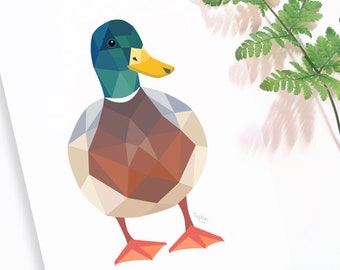Duck illustration, Mallard duck print, New Zealand birds, Duck nursery art, Geometric duck, Duck wall decor, Spring art, Bird art, Kiwiana