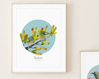 Silvereye fine art print, New Zealand birds, Tauhou illustration, Flax, Kiwi art, Silvereye painting, Silvereye pair, Bird pair art, Kiwiana