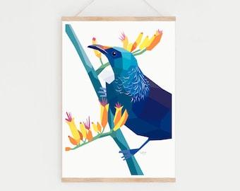 Tui print, Tui illustration, New Zealand birds, New Zealand gift, New Zealand art, Kiwiana, Kiwi art, New Zealand postcard, Tui card, Tui