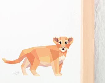 Baby lion print, Lion cub, Lion illustration, Children animal art, Safari animals, Savannah wildlife, Nursery animal art, Baby room artwork