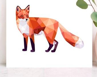 Fox illustration, Fox art, Fox print, Woodland creatures, Forest wildlife, Geometric fox, Fox nursery art, Animal prints, Wildlife wall art