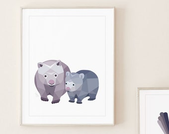Wombat nursery art, Wombat print, Australian animal nursery, Mother and baby wombat, Baby animal decor, Wombat art print, Kids wombat art