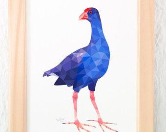 Pukeko art, Pukeko print, Pukeko illustration, New Zealand Pukeko, Kiwi bird art, New Zealand souvenir, Geometric print, New Zealand art,