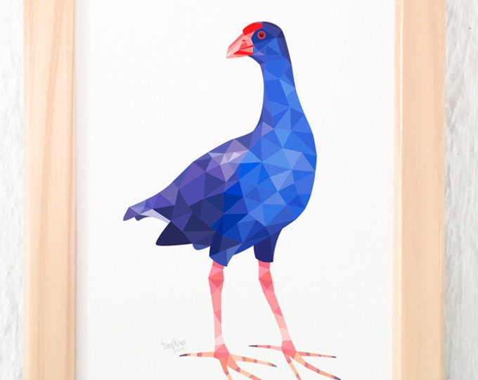 Pukeko art, Pukeko print, Pukeko illustration, New Zealand Pukeko, Kiwi bird art, New Zealand souvenir, Geometric print, New Zealand art,