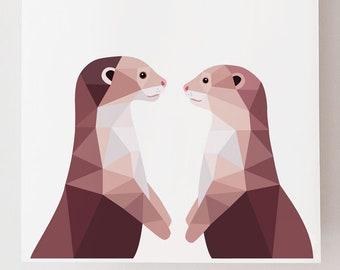 Otter pair illustration, Sea otter print, Cute otter art, Animal art, Kids room wall art, Woodland wildlife art, Wildlife art, Animal pair
