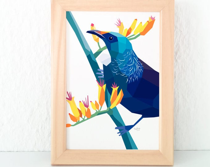 Tui print, Tui wall art, Native New Zealand birds, New Zealand art, Kiwiana, Geometric bird, Kiwi, NZ artist, New Zealand postcard, Tui card