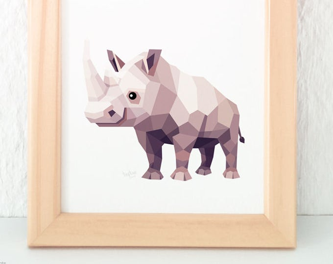 Rhino nursery print, Geometric animal art, Savannah animals, African animals, Rhino illustrations, Children's animal art, Nursery baby art