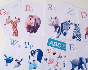 Alphabet wall art, ABC decor, Alphabet art set, Animal alphabet prints, Nursery ABC art, Baby nursery alphabet, Minimal abc, Baby abc art