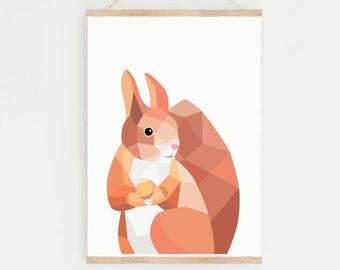 Squirrel print, Nursery squirrel, Squirrel art, Nursery prints, Nursery print set, Woodland nursery art, Red squirrel print, Nature print