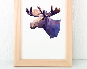 Moose print, Moose illustration, Moose decor, Wildlife decor, Animal art, Boys room, Kids room decor, Geometric moose, Canadian wildlife