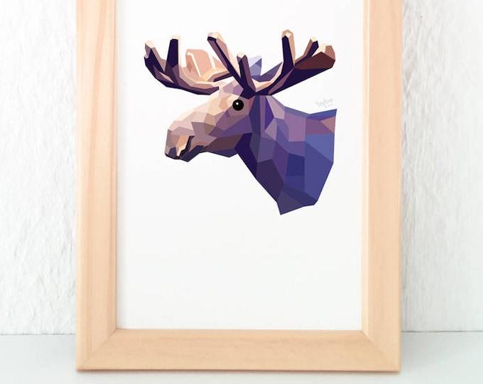 Moose print, Moose illustration, Moose decor, Wildlife decor, Animal art, Boys room, Kids room decor, Geometric moose, Canadian wildlife