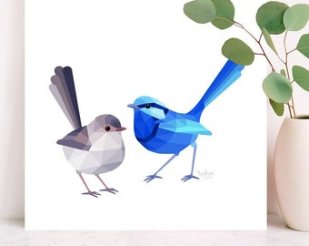 Blue wren illustration, Fairy wren pair print, Australian wren art, Wren lovebirds, Australian home decor, Bird art, Minimal animal art