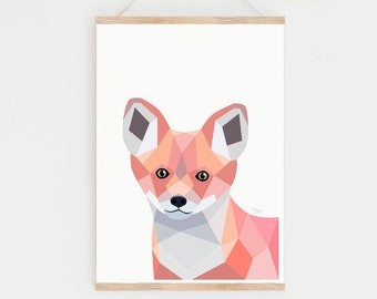 Baby fox print, Nursery decor, Nursery prints, Baby animal nursery prints, Fox print, Fox nursery art, Geometric fox, Woodland nursery art