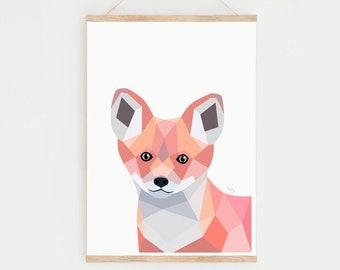 Baby fox print, Nursery decor, Nursery prints, Baby animal nursery prints, Fox print, Fox nursery art, Geometric fox, Woodland nursery art