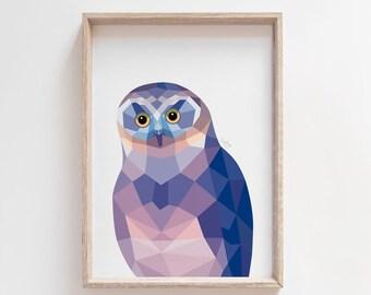 New Zealand owl print, Morepork owl art, Ruru owl painting, Owl illustration, Geometric owl, New Zealand native owl, New Zealand animal art