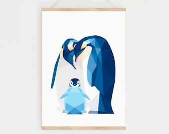 Penguin print, Penguin nursery print, Penguin illustration, Penguin baby, Penguin nursery decor, Animal family art, Gift for new mum, Baby