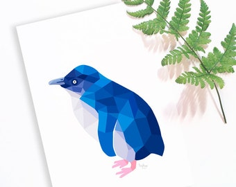 Little blue penguin, New Zealand penguin, Kiwi art, New Zealand birds, New Zealand wildlife, Penguin print, Fairy penguin, Little penguin