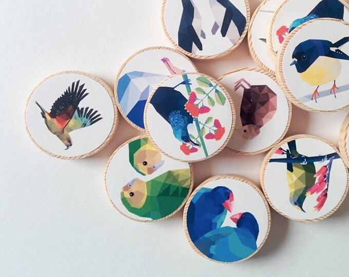 Featured listing image: New Zealand memory game, Kiwi match game, Wooden match game, New Zealand kids, Geometric memory game, Kiwiana gift, Kiwi, New Zealand birds
