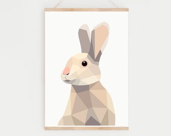 Nursery rabbit print, Rabbit art, Geometric nursery prints, Children room prints, Nursery wall art decor, Nursery animal prints, Bunny print