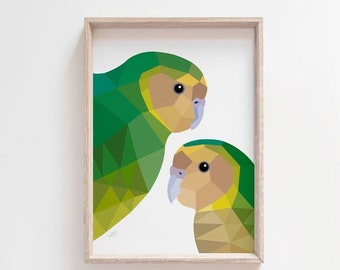 Kakapo print, Kakapo illustration, Kakapo poster, New Zealand native birds, Kiwi art, Kakapo parrot, New Zealand parrot, Kiwiana, NZ decor