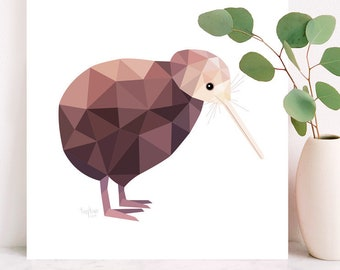 Kiwi illustration, Kiwi print, New Zealand Kiwi art, Geometric kiwi, Kiwi bird print, New Zealand wall art, Kiwiana art, New Zealand gift