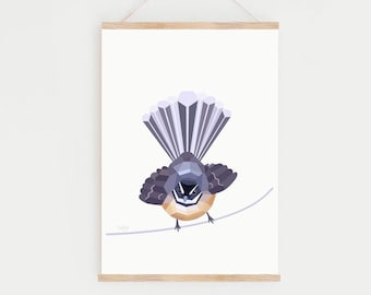 Fantail print, Fantail illustration, New Zealand bird, Kiwi art, New Zealand art, Piwakawaka, Kiwiana, Tui art, Native New Zealand birds