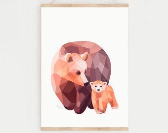 Bear illustration, Bear print, Geometric bear, Grizzly bear art, Baby bear art, Mother and baby art, Baby animal art, Minimalist nursery art