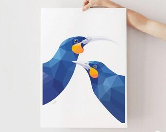 Huia art, Huia print, Huia poster, Extinct bird, Kiwiwana art, New Zealand birds, New Zealand wildlife, Kiwi art, Huia birds geometric print