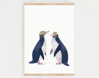 New Zealand penguin, Yellow-eyed penguin print, Kiwi art, Kiwi print, New Zealand birds, New Zealand wildlife, Yellow-eyed penguin print