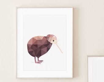 Kiwi poster, Kiwi illustration, Kiwi print, New Zealand kiwi, Geometric kiwi, Kiwi bird art, New Zealand art, Kiwiana art, New Zealand gift