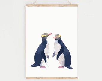 Yellow-eyed penguin print, New Zealand penguin, Hoihoi, Kiwi artist, Kiwi home decor, Endangered New Zealand birds, New Zealand wildlife