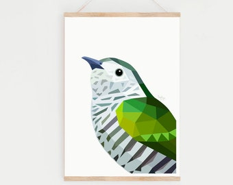Shining Cuckoo print, New Zealand cuckoo, Pipiwharauroa, Cuckoo bird art, Kiwi art, New Zealand art, Kiwi painting, New Zealand birds