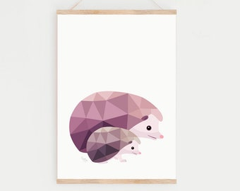 Nursery animals, Hedgehog print, Woodland animals, Woodland nursery decor, Cute nursery animal art, Baby hedgehog art, Animal mother print