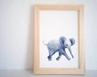 Elephant print, Baby elephant art, Elephant illustration, Geometric print, Baby animal, Children's nursery wall art, Cute animal, Kid's art