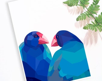 Takahe art print, Takahe pair, New Zealand birds, New Zealand artist, Kiwi art, Gift from New Zealand, New Zealand decor, Kiwiana gift ideas