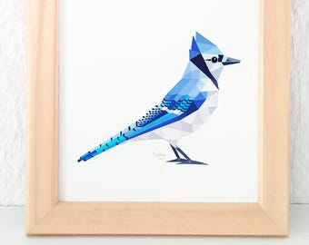 Blue jay print, Blue jay art, Geometric print, Kids bird art, American bird art, Blue bird art,  Nursery wall art, John James Audubon, Blue