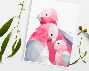 Galah cockatoo print, Galah illustration, Bird pair, Animal family art, Toddler room art, Australian birds, Art for babies, Cute animal art