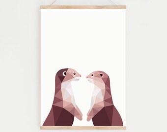 Otter illustration, Otter print, Cute otter art, Animal lover art, Kids art, Woodland wildlife art, Wildlife art, Otter pair, Otter couple
