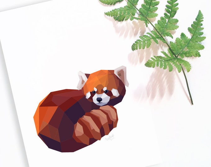Red panda illustration, Panda art, Cute panda decor, Panda wall art, Geometric panda art, Panda painting, Panda poster, Love pandas, Animals