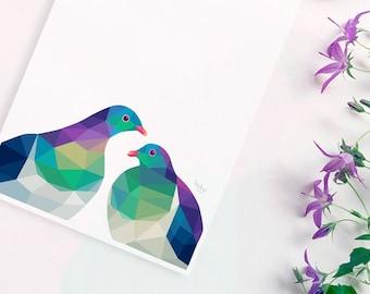 New Zealand kereru pair, Kereru print, Kereru art, New Zealand bird, Kiwi bird art, New Zealand art, Kiwi wall art, Kiwi home decor, Kereru