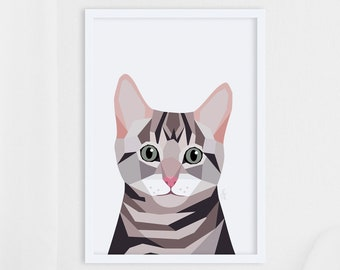 Cat art, Cat print, Cat portrait, Pet art, Cat illustration, Geometric cat art, Cat wall decor, Pet owner gift, Cat lover, Animal art, Print