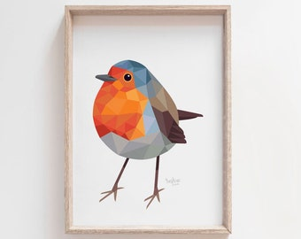 Robin print, Robin illustration, Robin painting, Robin art, Cute bird art, Bird art, Woodland animals, Garden birds art, Woodland wildlife