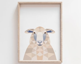Sheep print, New Zealand sheep, Sheep illustration, New Zealand art, Geometric sheep, Neutral decor, Sheep art, Kiwi styles, Kiwiana gift