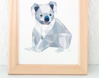Koala bear print, Bear art, Australian art, Australian animal, Australian Wildlife, Koala illustration, Koala wall art, Grey animal wall art