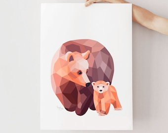 Bear illustration, Bear print, Geometric bear, Nursery animals, Baby bear art, Mother baby art, Baby animal art, Bear nursery art, Bear cub
